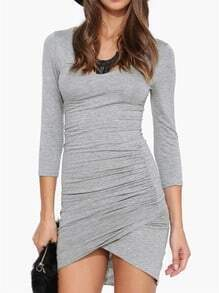 Grey Long Sleeve Ruched Wrap Dress