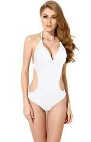 White Halter Metal Embellished Swimwear