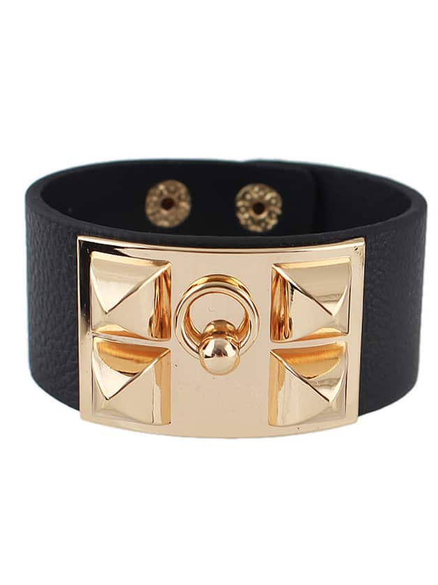 Gold rivet black leather bracelet shein sheinside for Rivets for leather jewelry