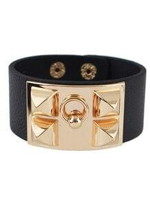 Gold Rivet Black Leather Bracelet