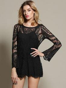 Black Long Sleeve Sheer Lace Blouse
