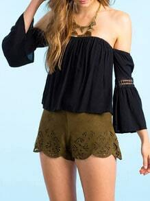Black Off The Shoulder With Lace Blouse