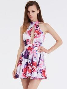 White Chikan Halter Floral Painted Patterns Print Flare Dress