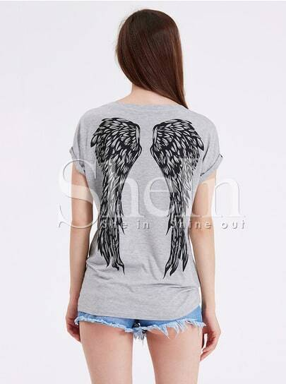 Grey Short Sleeve Wing Print T-shirt pictures