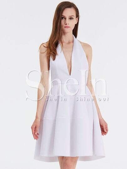 White Faille Sleeveless Halter Flare Dress