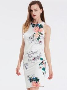 White Sleeveless Floral Modest Patterns Print Dress