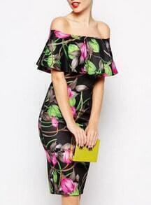 Black Off The Shoulder Floral Print Dress