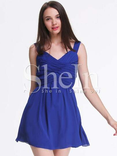 Blue Strap Backless Pleated Dress