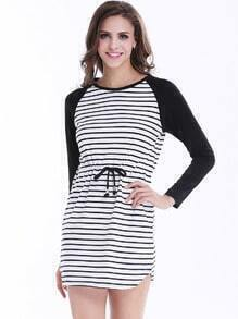 Black Long Sleeve Striped Drawstring Dress