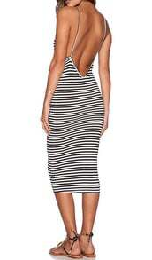 Black White Spaghetti Strap Striped Backless Dress