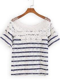 Blue White Short Sleeve Striped Lace Blouse