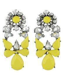 Yellow White Drop Gemstone Silver Earrings