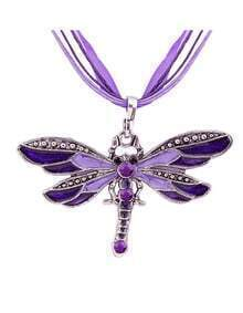 Purple Diamond Dragonfly Necklace