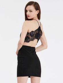 Black Spaghetti Strap Contrast Lace Dress