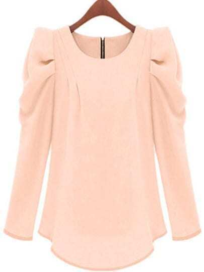Apricot Puff Sleeve Zipper Slim Blouse