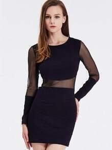 Black Long Sleeve Contrast Mesh Yoke Bodycon Dress