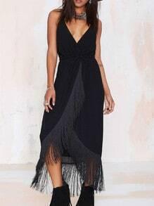 Black Spaghetti Strap V Neck Tassel Dress
