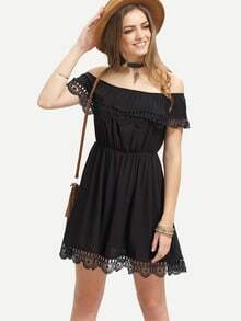 Black Off the Shoulder Lace Scalloped Casual Dress