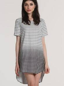 White Black Plaid High Low Dress