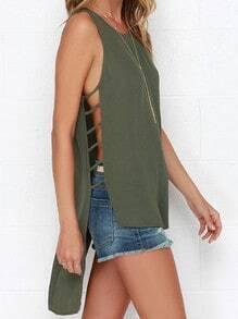 Green Sleeveless High Low Tank Top