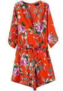 Orange V Neck Tie-Waist Floral Jumpsuit