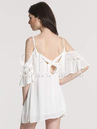 White Spaghetti Strap Lace Insert Dress