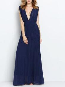 Blue Sleeveless V Neck Pleated Maxi Dress