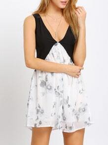 Black Sleeveless V Neck Floral Dress