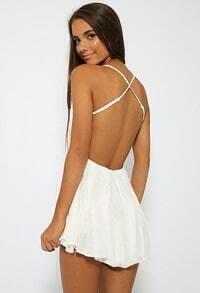 White Criss Cross Back Lace Backless Dress