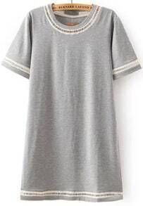 Grey Short Sleeve Hollow Straight Dress