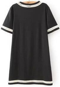 Black Short Sleeve Hollow Straight Dress
