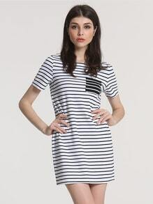 White Black Short Sleeve Striped Dress