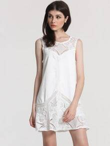 White Sleeveless Lace Ruffle Flapper Dress