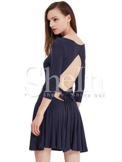 Navy Bodysuit Half Sleeve Cut Out Back Bow Dress