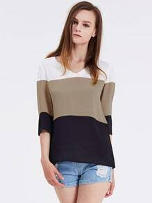 White Long Sleeve Color Block Blouse