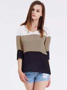 White Long Sleeve Color Block Blouse