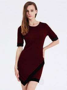 Wine Red Aubergine Professionals Short Sleeve Bodycon Dress