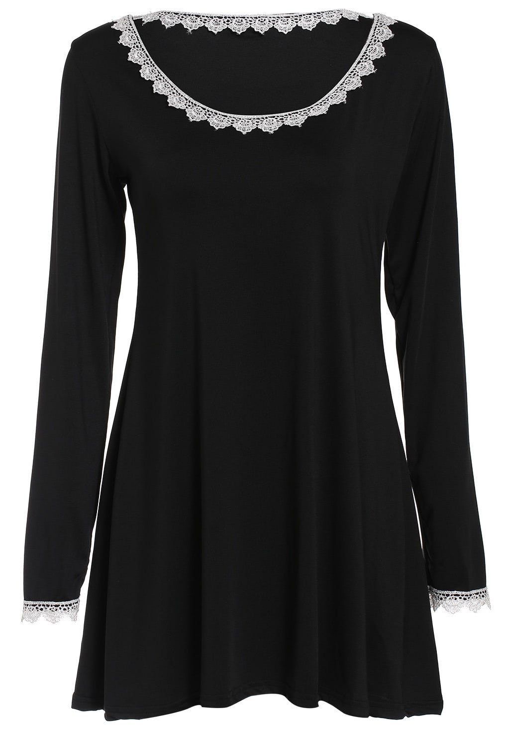 Black Round Neck Long Sleeve Panelled Lace A Line Dress