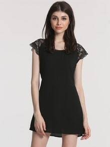 Black Cap Sleeve With Lace Dress