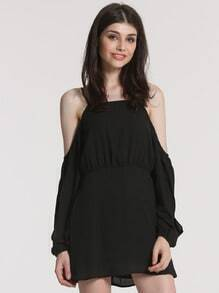 Black Spaghetti Strap Off The Shoulder Dress