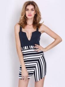 Navy Spaghetti Strap V-cut Striped Asymmetrical Dress