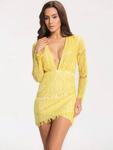 Yellow Lemons Deep V Neck Long Sleeve Bodycon Lace Dress