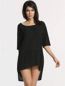 Black Half Sleeve High Low Dress