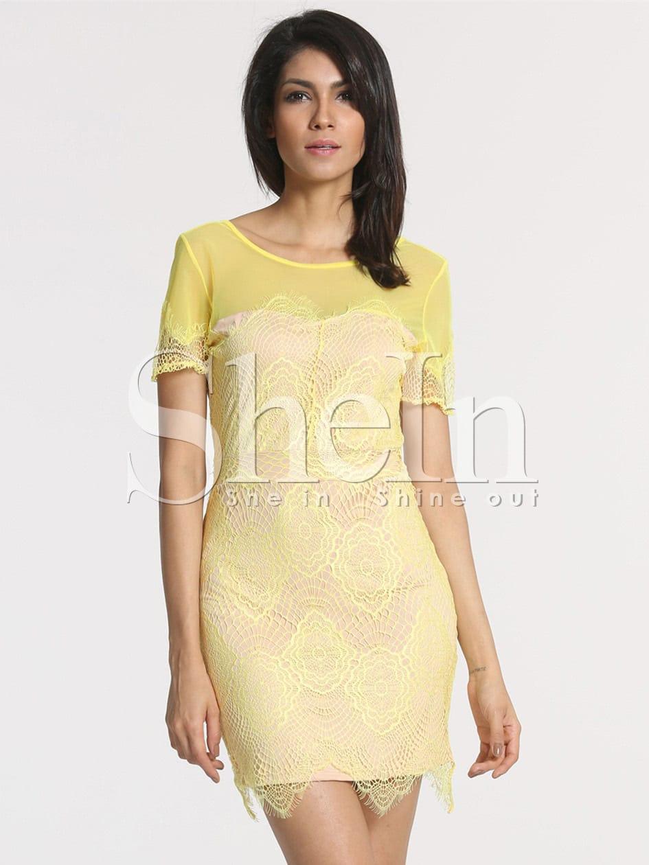 Фото Yellow Lemons Short Sleeve V Back Lace Dress. Купить с доставкой