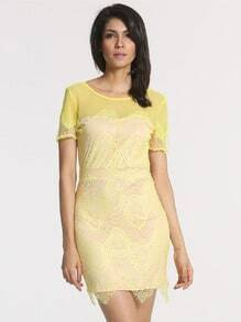Yellow Short Sleeve V Back Lace Dress
