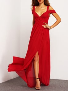 Wine Red Porm Charmeuse Off The Shoulder Hearts Elegent Maxi Dress