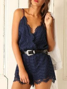 Navy Spaghetti Strap Lace Jumpsuit