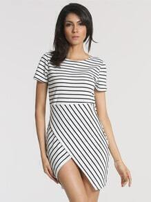 Black White Short Sleeve Striped Cross Dress
