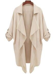 Beige Long Sleeve Casual Loose Pockets Coat