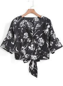 Black V Neck Floral Bow Crop Blouse